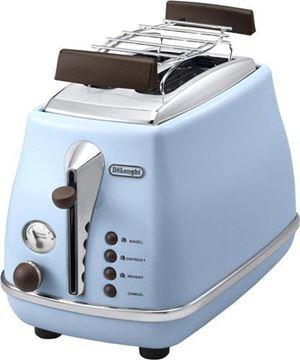 Resim Delonghi CTOV 2103.AZ Icona Vintage Mavi Ekmek Kızartma Makinesi (KOLİ HASARLI TEŞHİR ÜRÜNÜ)